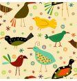 retro bird pattern vector image vector image