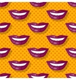 Seamless Pattern Smiling Lips Teeth on Polka Dot vector image vector image