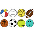 set of different game balls vector image vector image