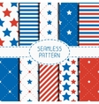 Set of geometric patriotic seamless pattern with vector image vector image