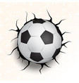 soccer ball coming in cracked wall vector image