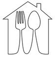 spoon and fork one line drawing vector image