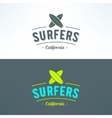 surfing logo with surfboards Surfing shop vector image vector image