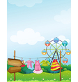 The arrow boards near the hanging clothes vector image vector image