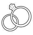 Wedding rings icon outline style vector image vector image
