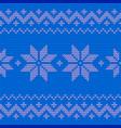 beautiful knitted blue jacquard seamless pattern vector image