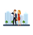 guy and girl talking on the phon vector image