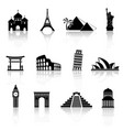world sights icons world famous buildings vector image