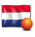 A ball in front of the flag of the Netherlands vector image vector image
