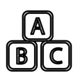 abc blocks abc cubes child education line art vector image