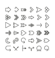 Arrow thin line icon set Flat design