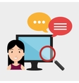 avatar woman with monitor computer vector image