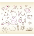beach accessories cute vector set vector image vector image