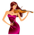 beautiful woman playing violin vector image vector image