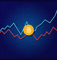 bitcoin and profit growth graphs on a digital vector image vector image