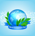 blue planet earth with ribbon vector image