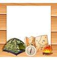 Border design with camping equipments vector image vector image