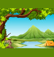 camping in nature landscape vector image vector image
