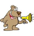 Cartoon bear talking into a megaphone vector image vector image