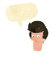 cartoon man narrowing eyes with speech bubble vector image