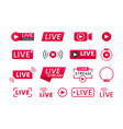 collection live streaming icons buttons vector image vector image