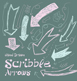 Collection of scribble arrows hand-drawn on a dark vector image