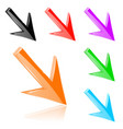 colored down 3d arrows shiny bright signs vector image vector image