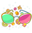 colorful of green and red sunglasses on whit vector image vector image