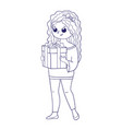 cute girl for coloring bookgirl holding a box vector image vector image