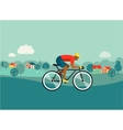 cyclist riding on bicycle on countryside poster vector image vector image