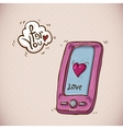 Doodle Card Valentines Day with pink phone vector image