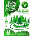 earth day banner with green tree and eco icon vector image vector image