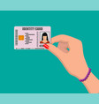 female id card in hand vector image vector image