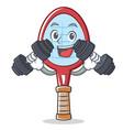 fitness tennis racket character cartoon vector image