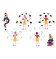 flat doubtful women with questions set vector image vector image