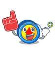 foam finger yoyo mascot cartoon style vector image