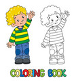 funny little boy coloring book vector image vector image