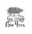 greeting card the car carries a fir on the roof vector image vector image