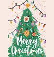 greeting xmas card with merry christmas vector image