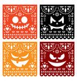 halloween papel picado design with pumpkin faces vector image
