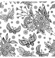 hand drawn flowers and butterfly background vector image