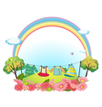 Hanging clothes in the garden vector image vector image