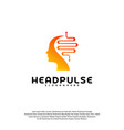 head pulse logo head intelligence logo designs vector image
