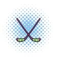 Hockey sticks icon comics style vector image