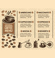 invitation in cafe menu coffee house pictures vector image vector image