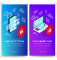 isometric data security phone vertical banners set vector image vector image