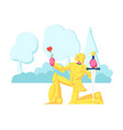 knight in gold sparkling armor stand on knee vector image vector image