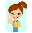 Little girl with a first place medal vector image vector image