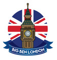londons big ben badge vector image vector image