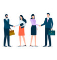 man and woman corporate and handshake deal vector image vector image